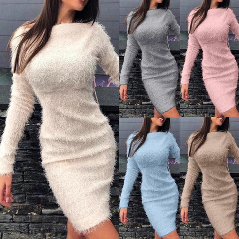 Modycon Peluche Robe 2020 Hiver Automne Femmes Sexy Solide Solid Color Party Night Night Robes à manches longues Fashion Chaud Robe décontractée PKDQX