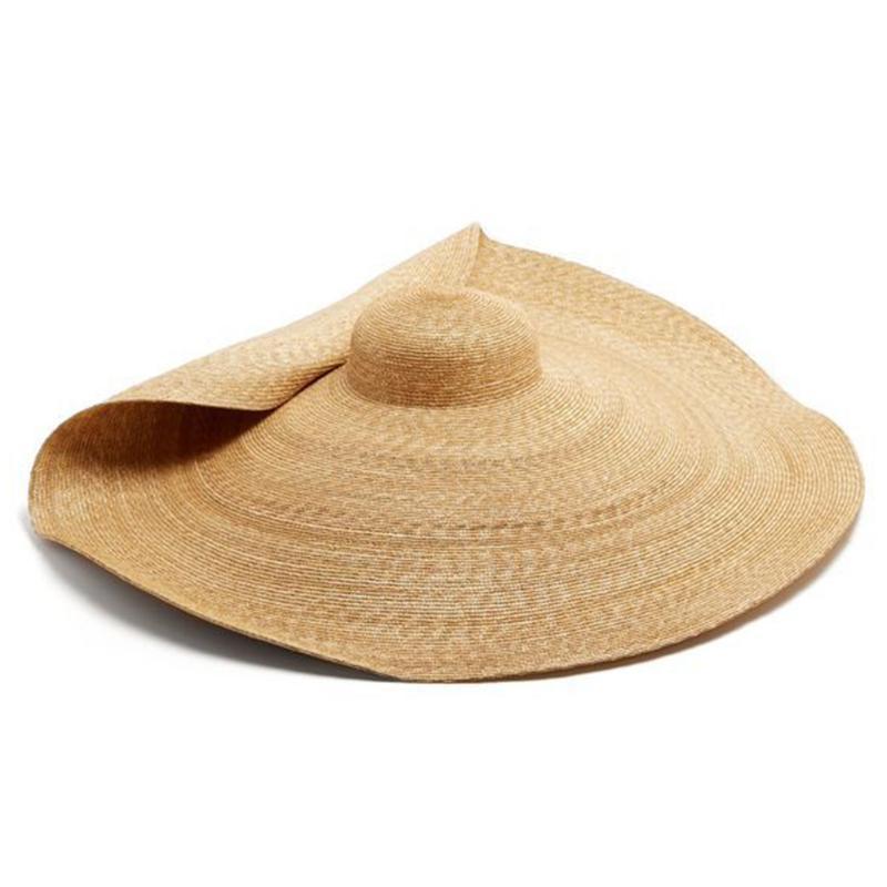 Cappello per il sole 80 centimetri di viaggio Donne Grande Outdoor paglia della spiaggia Tesa larga Semplice Estate protezione modo della decorazione UV pieghevole solido