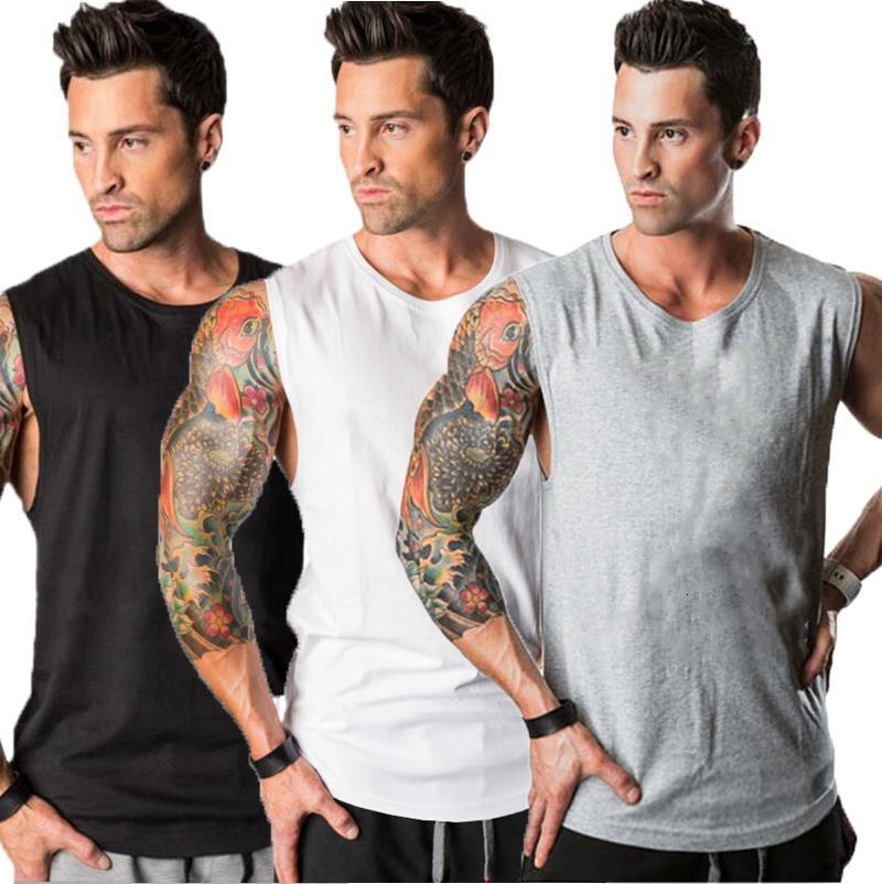3 пачка бегущий жилет тренажерный зал одежда бодибилдинг фитнес-бак вершины мужчин тренировки без рукавов рубашка лето твердый хлопок синглет