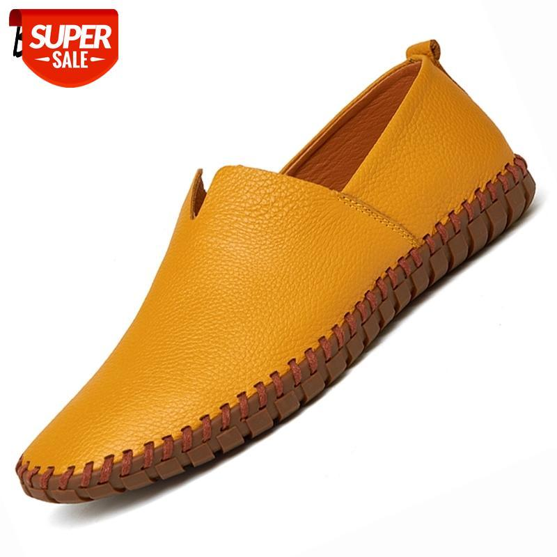 Mens Designer Sapatos de couro Mensinhos Moda Moda Moquasins Handmade Mocassins Itália Homens Flats Couro Passeio de Passeio no Barco Masculino 38-50 # YG7Q