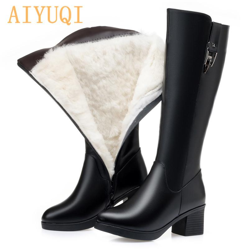 AIYUQI Зима Женщины Длинные сапоги из натуральной кожи натуральной шерсти теплый высокие сапоги женщин Мода Большой размер женщин езда сапоги 201021