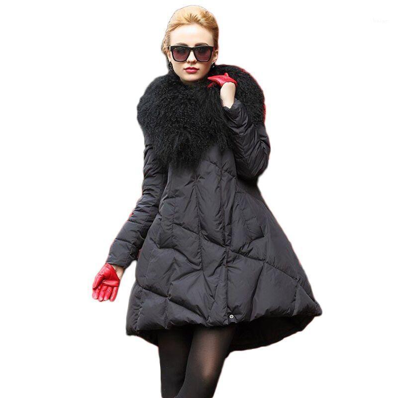 Зимняя леди большой настоящий меховой воротник с капюшоном Parka женская густая теплое черное длинное пальто повседневная свободная стройная мода юбка верхняя одежда Z3491