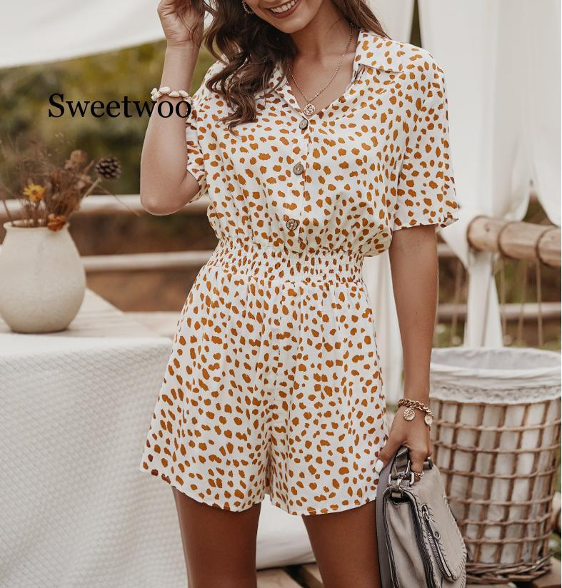 2021 Nova Moda Slim Summer Playsuits Mulheres Solto Short Manga Casual Imprimir Playsuits