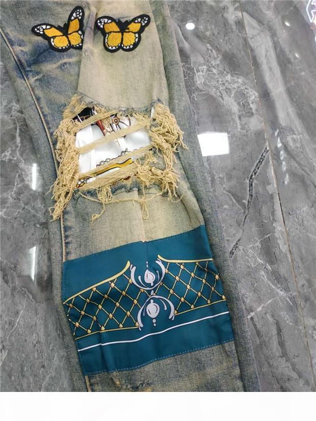Luxurys Designer Mens Design Slim-perna jeans Zipper Vintage Moda Mens Jeans Motocicleta Motocicleta Calça Jeans Mens Hip Hop Calças W28-W40