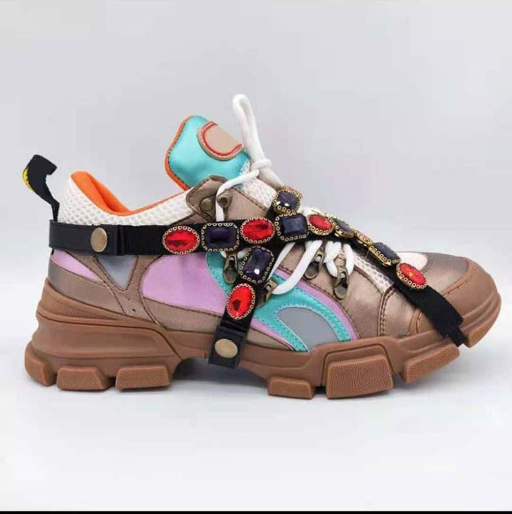 Moda melhor qualidade de top de couro real artesanal multicolor gradiente tênis tênis homens mulheres famosas sapatos treinadores 17