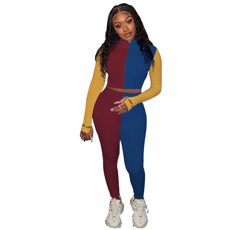 2021 Lepal Boyun Bayan İki Parçalı Set Moda Kontrast Renk Eşofmanlar Ince Yeni Tasarımcı Bayan Giyim