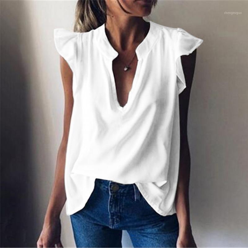 Feitong плюс размер женщин блузки офис леди лето мода повседневная свободная сексуальная V шеи твердые топы без рукавов женские рубашки blusas1