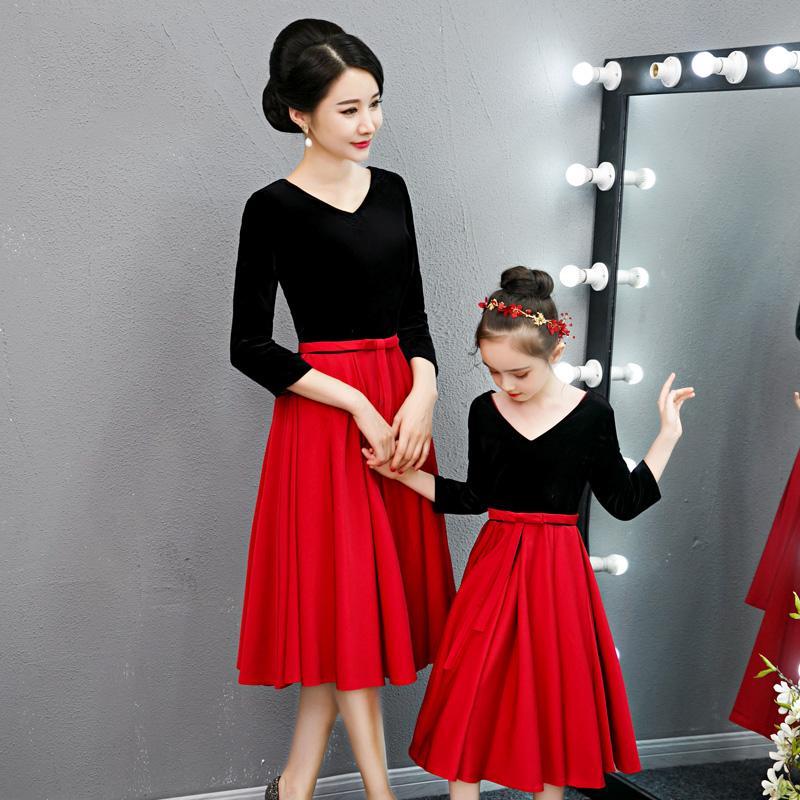 Prom Dress genitore-figlio CB119 Patchwork A-Line banchetti Abiti V-Ne elegante Vestidos de Gala al ginocchio Abito Madre Figlia