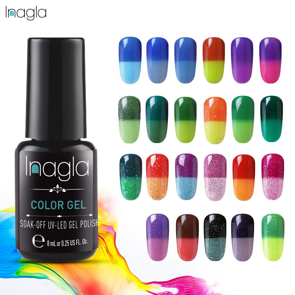 Inagla Nail Polish Temperature Change Nail Art Lacquer Varnish Manicure 8ML Gel Nail Varnishes Gel lacquer