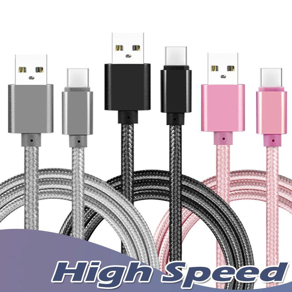 Carcasa metálica trenzada Micro USB Cable 2A Duradera carga de alta velocidad USB Tipo C Cable con 10000 curvas para la vida útil para el teléfono inteligente de Android