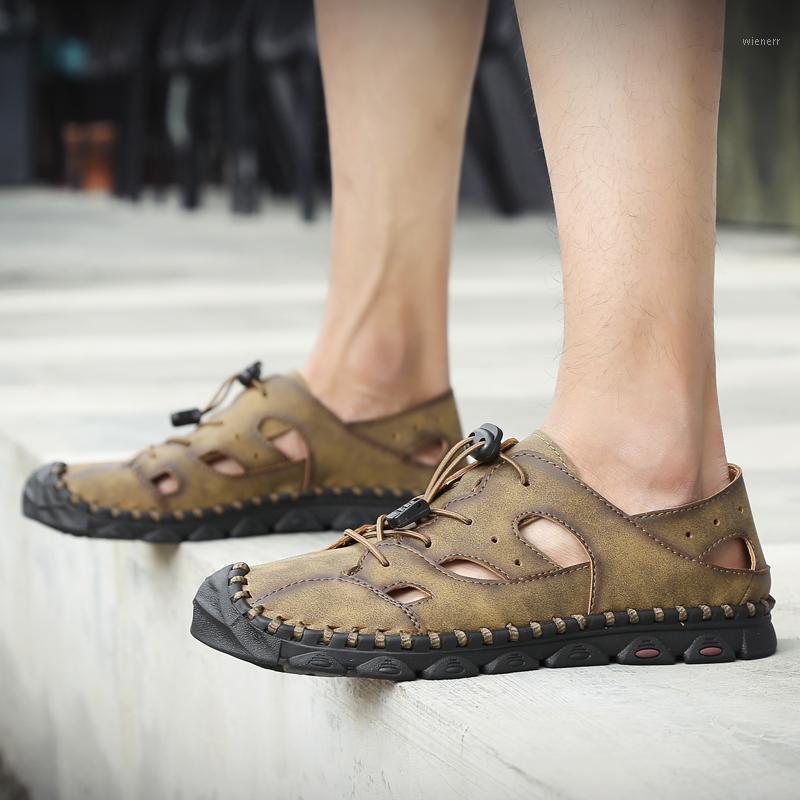 Boyutu Hombre Moda Masaj Schoenen Erkek Terlik Erkek Deri Gündelik 2020 Çalışma Yaz Sandaletspers Sandalet Zapatos Outdoor1