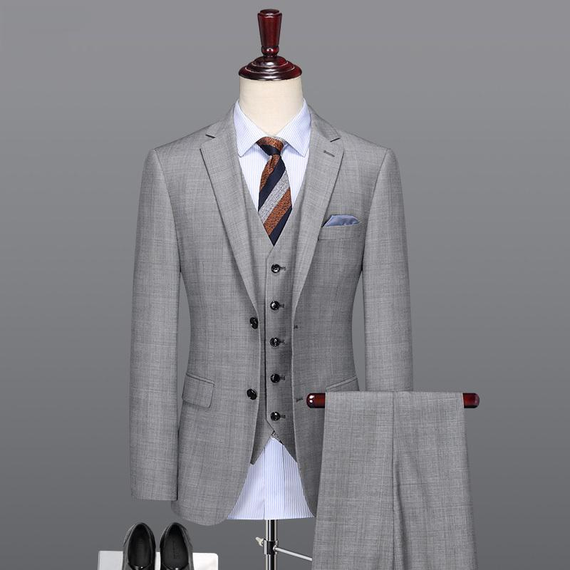 Hombres traje de color gris claro inteligente 50% de lana de lana de alta calidad para hombres para hombre para fiesta de bodas Día del padre Regalos Trajes formales Set más W1217