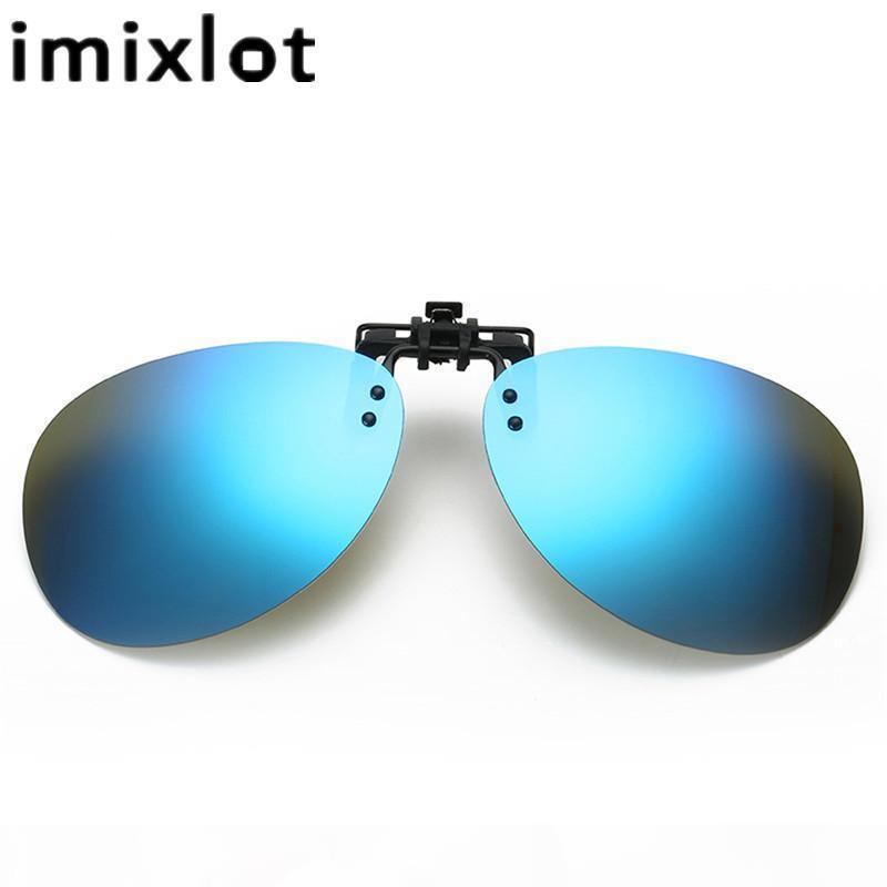 IMIXLOT MYOPIA Clip auf Sonnenbrillen Randlose Clip Gläser Polarisierte Linsen UV400 Geeignete optische Glas Filpen auf Frame