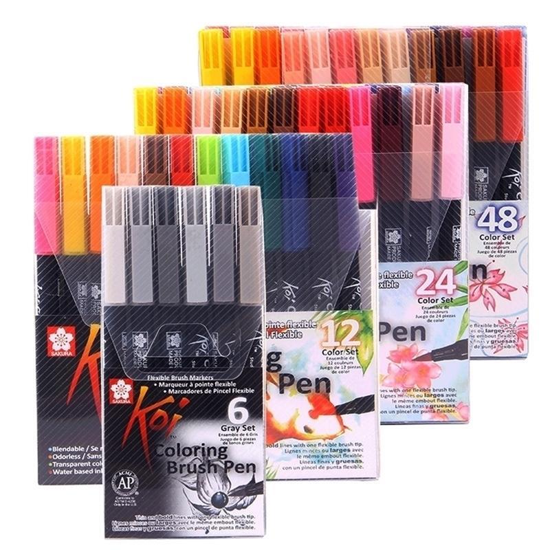 SAKURA KOI Coloriage Pinceau XBR 6 gris / 12/24 / 48 Couleurs Set Set Flexible Brown Marker Couleur d'eau Panneau de peinture Fournitures 201225