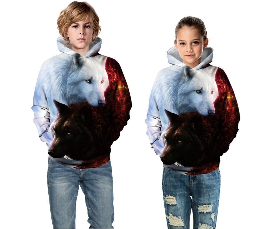 Vêtements enfants 2020 gros enfants automne / hiver nouveau renard imprimé numérique pull à capuche garçons et filles vestes