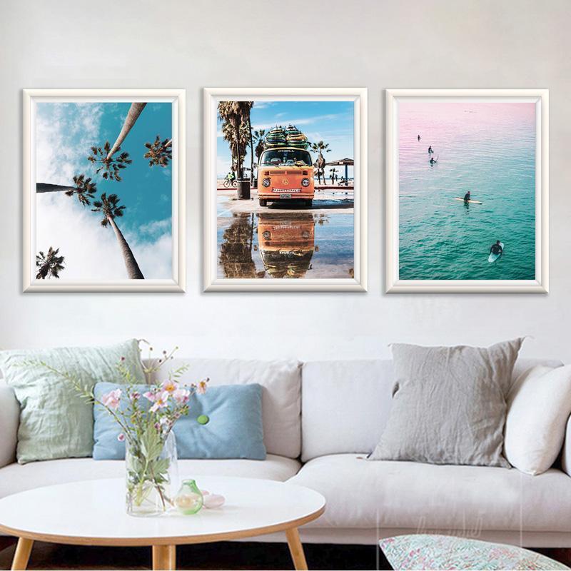 Poster escandinavo estilo del océano resaca de la playa del arte e impresiones costera pared de la lona Pintura para sala de estar nórdica decoración del hogar