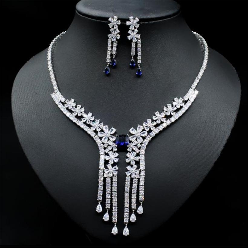 Hochzeit Braut Zirkon Halskette Ohrringe Schmuckset Set Luxus Zirkonia Rot Blau Silber Anhänger Halskette Langlebige Diamantohrringe