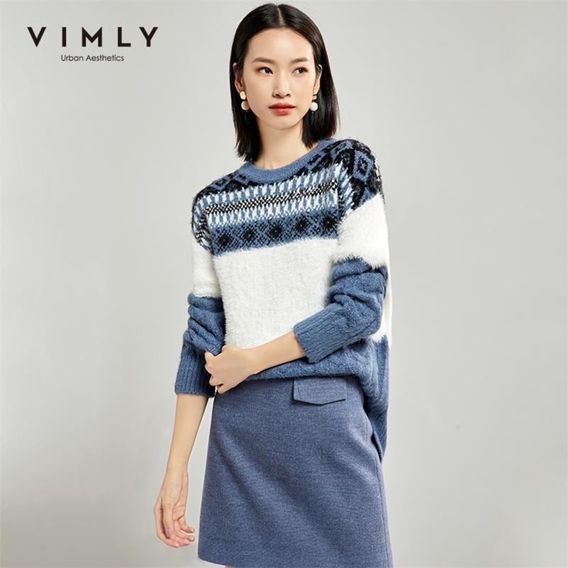Vimly женщины вязаный свитер осенью винтаж o шеи вязание крючком шаблон свободно толстые элегантные женщины одежда женские пуловеры топы 99182 LJ201112