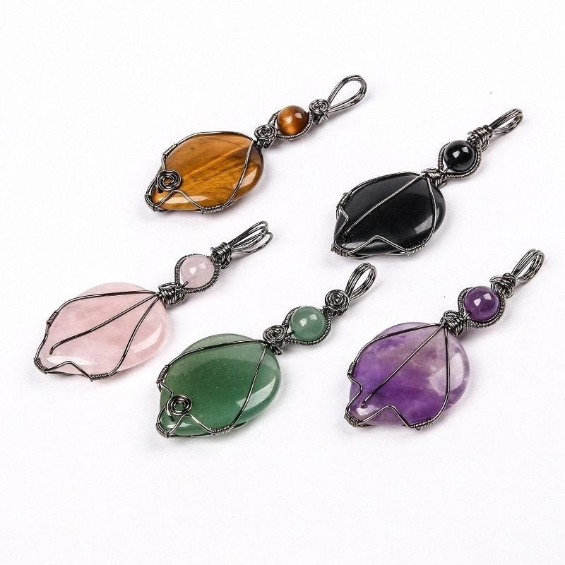 Natural Stone Water drop Double-sided Wire winding Rose Quartz Black Obsidian pendant Egyptian God Horus of eye Healing Necklace t1XF#
