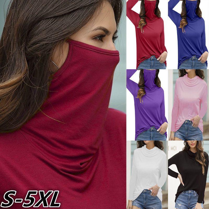 Herbst-Winterfrauen arbeiten Gesichtsmaske hohen Hals Langarm-T-Shirt Normallack-Pullover Blusen Hemd übersteigt beiläufige Spitze T CZ1019B