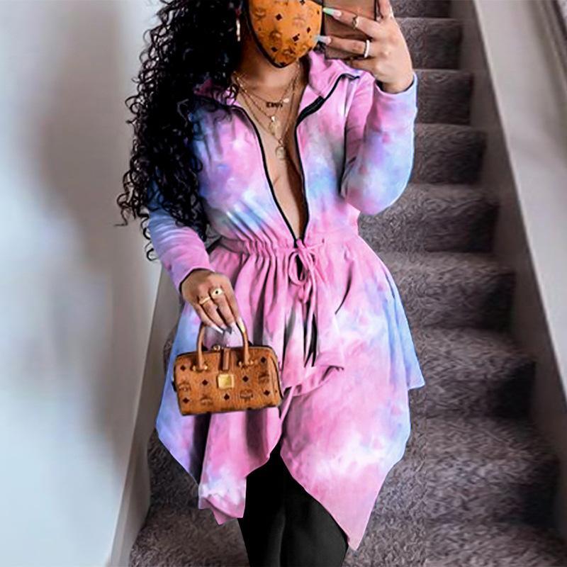 Tie Dye Zipper Femmes Robes Longueur irrégulière en vrac Printemps Automne Femmes Designer Robe Vêtements de vente Hot Casual