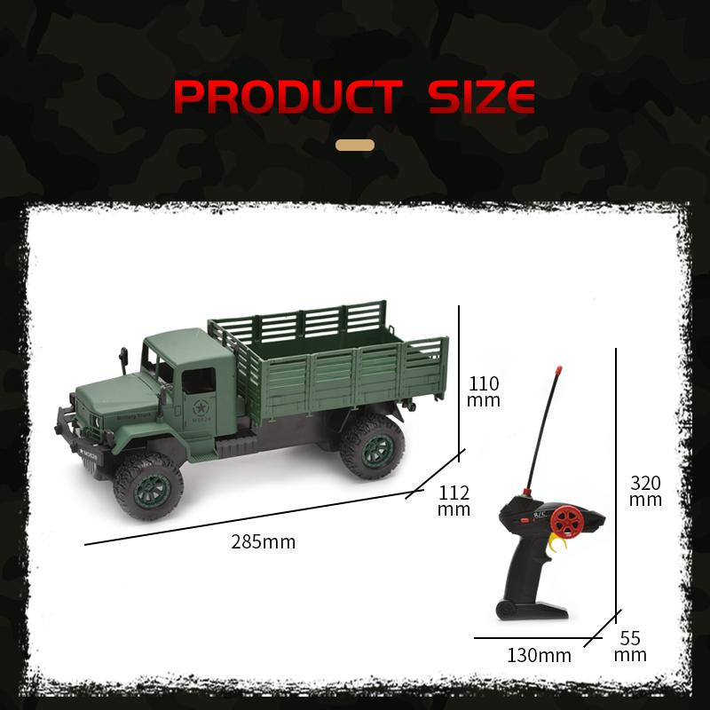 Army Green Remote control Military Truck Toys Kid Cool Military Truck Model Toy RC Car Kid Boy Christmas Gifts
