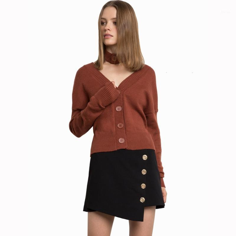 Коричневый с длинным рукавом кнопка колье свитера для женщин дамы осень случайные сексуальные свободные негабаритные V шеи трикотажные кардиганские топы1