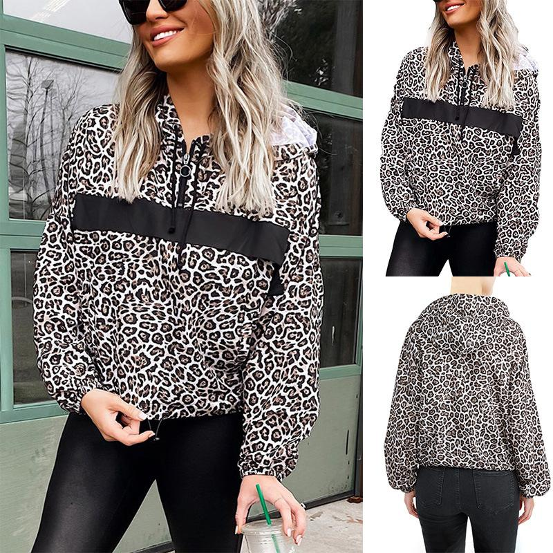 Outono europeu e americano, estilo leopardo Zip V-neck manga comprida moletom com capuz Womens Top Y-
