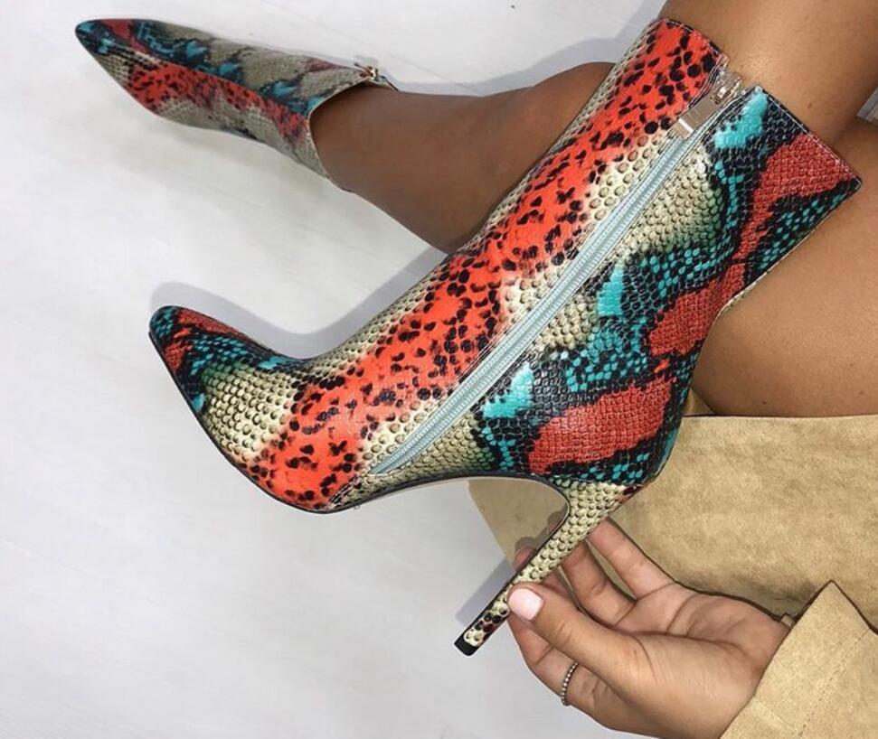 Kalın yüksek topuklu bayan moda ayakkabıları 35-42 002 snakeskin renkte Kış moda botlar