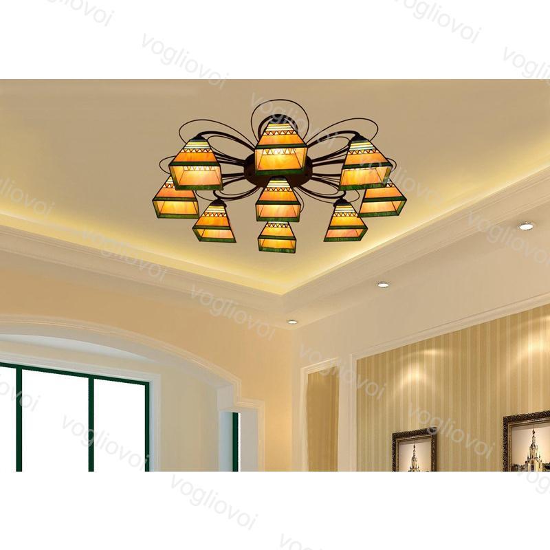 أضواء السقف 3 7 9 رؤساء 6 بوصة الأوروبية الرجعية متعدد الألوان gass الهرم الحديد e27 للمعيشة غرفة الطعام نوم بار dhl