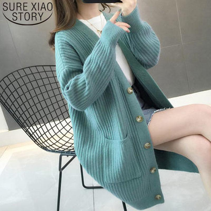 femmes automne / hiver Mode femme Cardigans Bouton Pull à manches longues Femmes Casual solide à long Cardigan 5784 200929