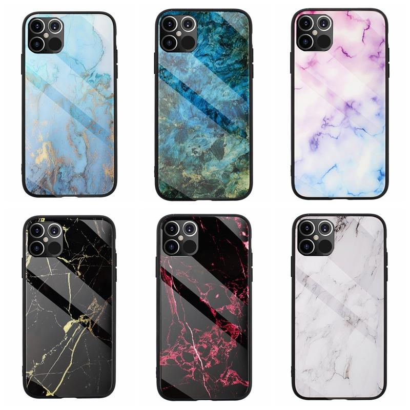 Real Tempered Glass Hard Case For Iphone 12 2020 11 Pro XS MAX XR X 8 7 6 Plus Soft TPU Marble Natural Granite Stone Rock Hybrid Phone Cover