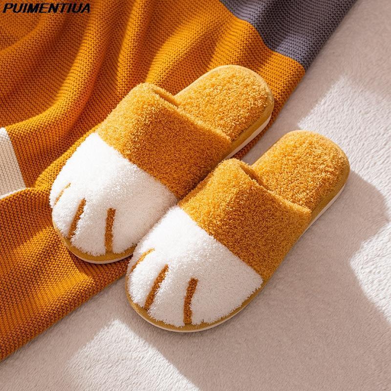 PUENTORMENTUA Mujeres de invierno zapatillas de interior dormitorio lindo dormitorio interior peludo deslizamiento antideslizante casa casa zapatillas de piel caliente zapatos de felpa