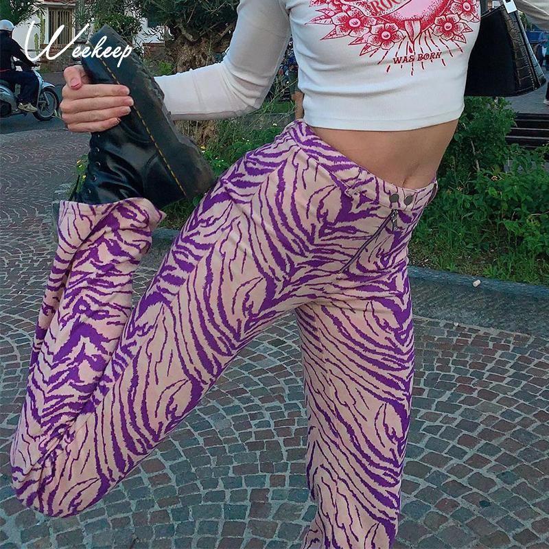 Weeeep Zebra Çizgili Baskı Moda Sweatpants Kadınlar Fermuar Streetwear Joggers Kargo Pantolon Parti Kıyafetleri Retro Düz Pantolon