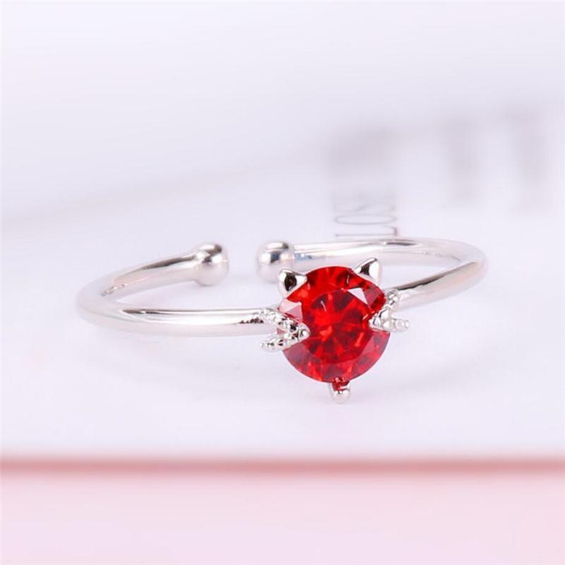 Кластерные кольца подошвы память милый красный кристалл кот сладкий романтический свежий 925 стерлинговый серебристый серебристый серебристый серебро SRI3501
