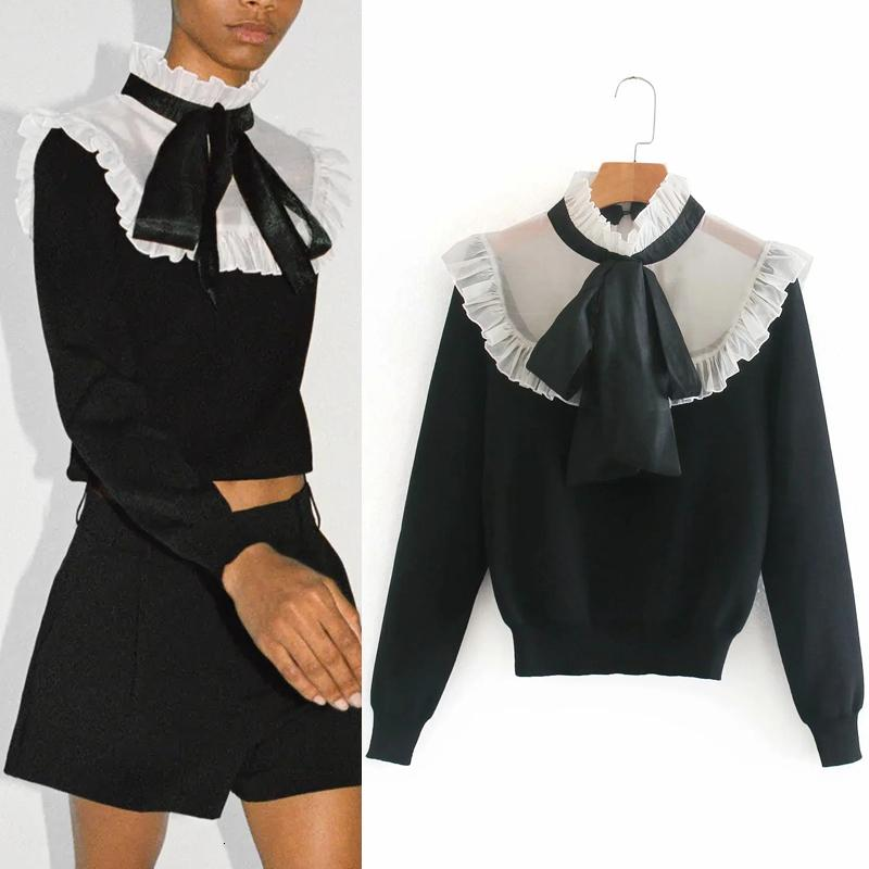 2021 New Autumn Organza Patchwork Black Knitted Cropped Women Fashion High Neck Bow Tied Ruffle Long Sleeve Sweater 327x