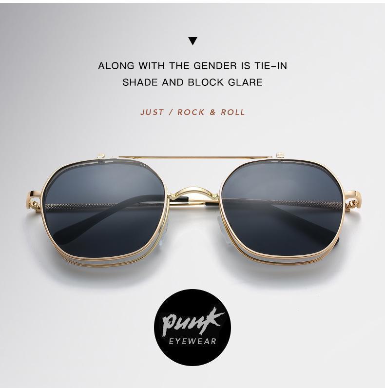 Metall Neue Sonnenbrille Goldener da occhiali Rahmen Flip Unisex Für Männer Frauen Hip-Hop Punk Retro Sonnenbrille Frauen Für Desinger 2020 Sohle HWHMA