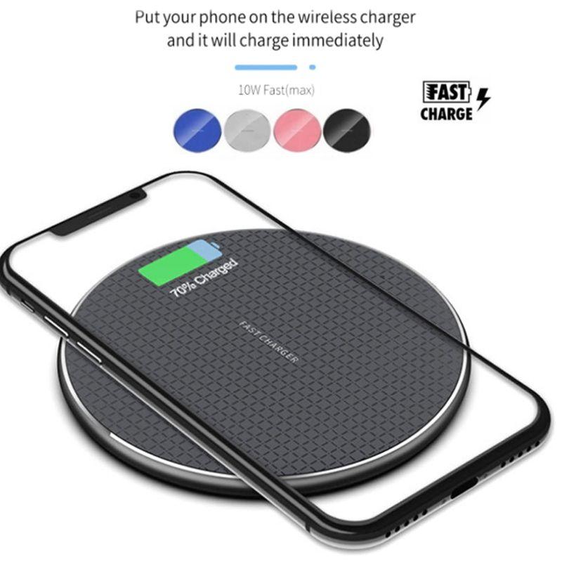 Chargeur sans fil de 10W Qi pour iPhone 12 11 PRO XS MAX x XR FAST FAST FRAIS TAPP DE CHARGE DE CHARGE POUR SAMSUNG POUR HUAWEI