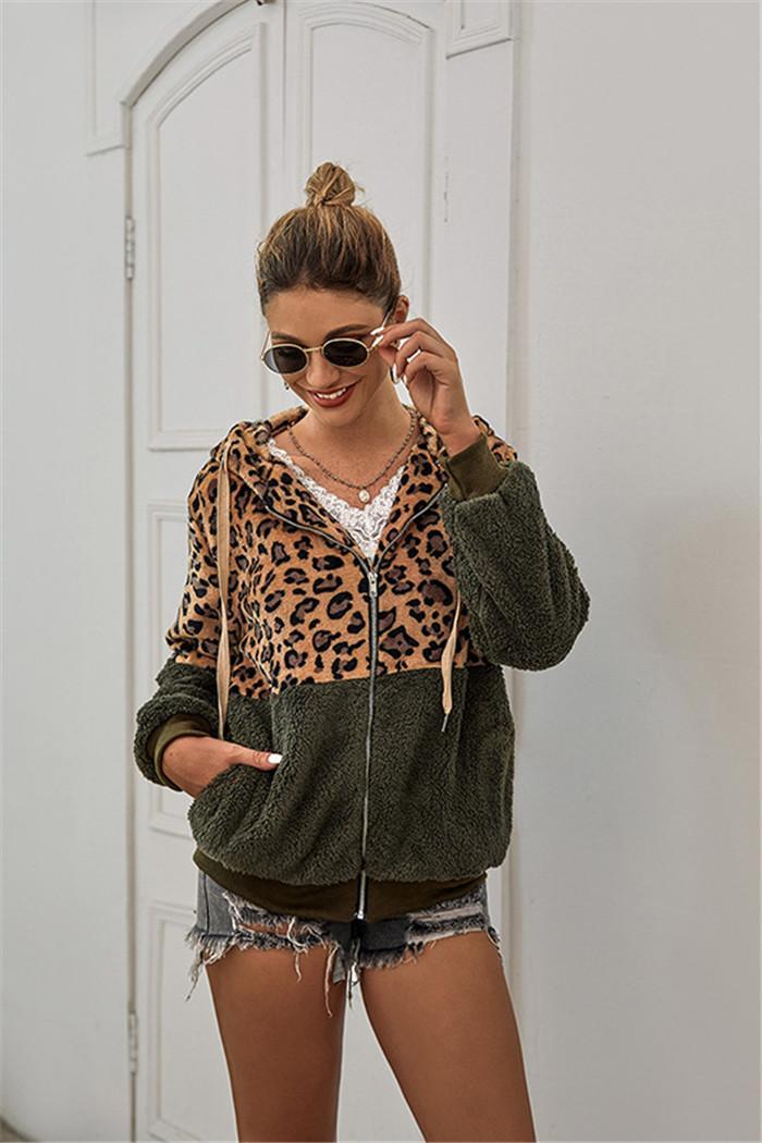 Women Leopard Patchwork Hoodies Zipper Long Sleeve Hooded Sweatshirt Ladies Pocket Coats
