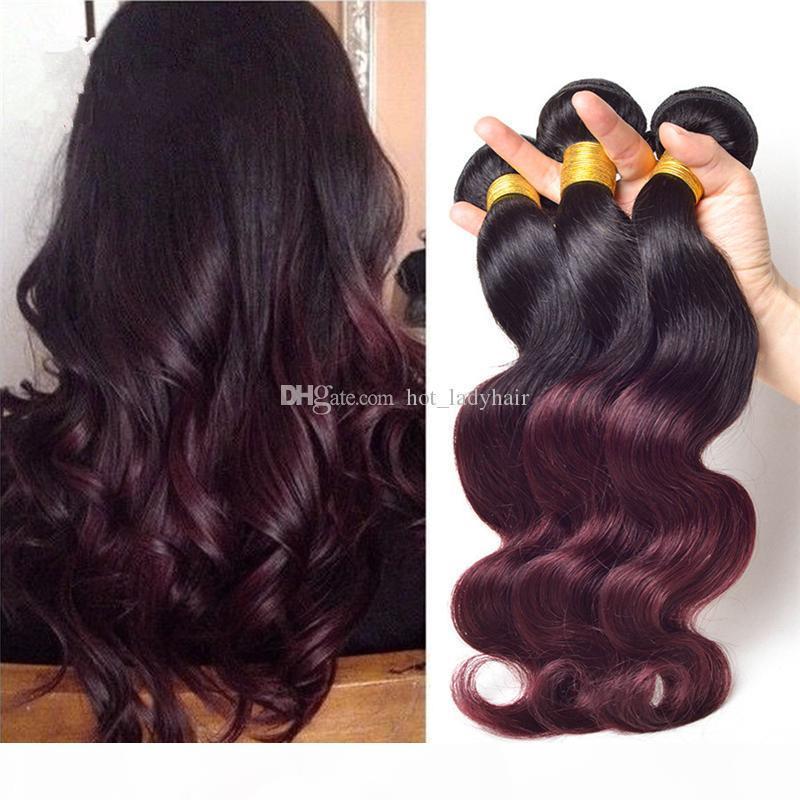"""Ombre dois tom 1b borgonha cabelo weave 3 pcs lote 10 """"-30"""" Tom de reboque Malaysian 1B 99J extensões de cabelo barato ombre cabelo humano tecer"""