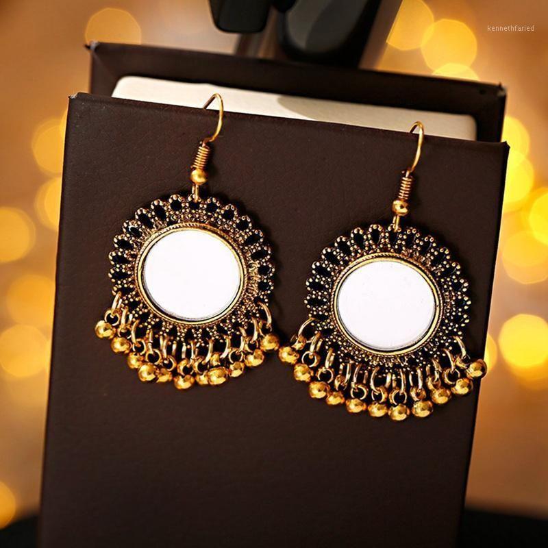 Gypsy Egitto Golden Tassel Golden Jhumka Orecchini retrò etnico rotondo specchio ciondolare orecchini per womenturky afghan1
