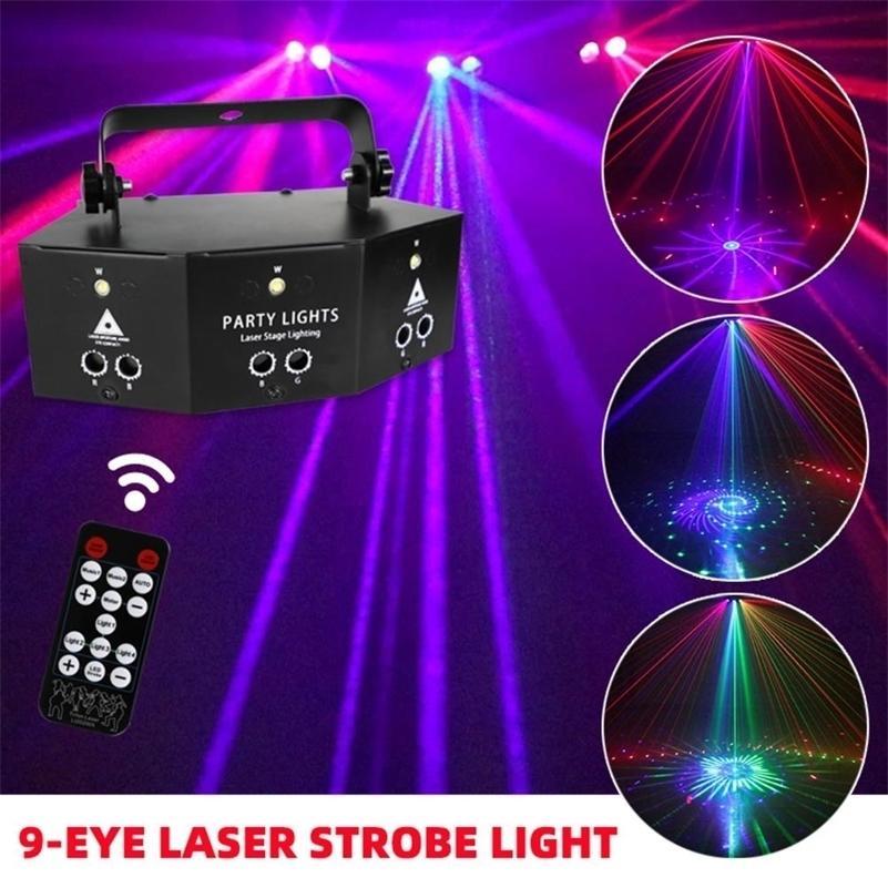 9-göz RGB Disko DJ Lambası DMX Uzaktan Kumanda Strobe Sahne Işık Cadılar Bayramı Noel Bar Parti LED Lazer Projektör Ev Dekorasyonu Y201015