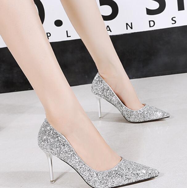 Zapatos de boda atractivo de lentejuelas estilete de los tacones altos de dama zapatos de noche 36 a 40 de envío libre del partido formal Bombas 8.5CM talones