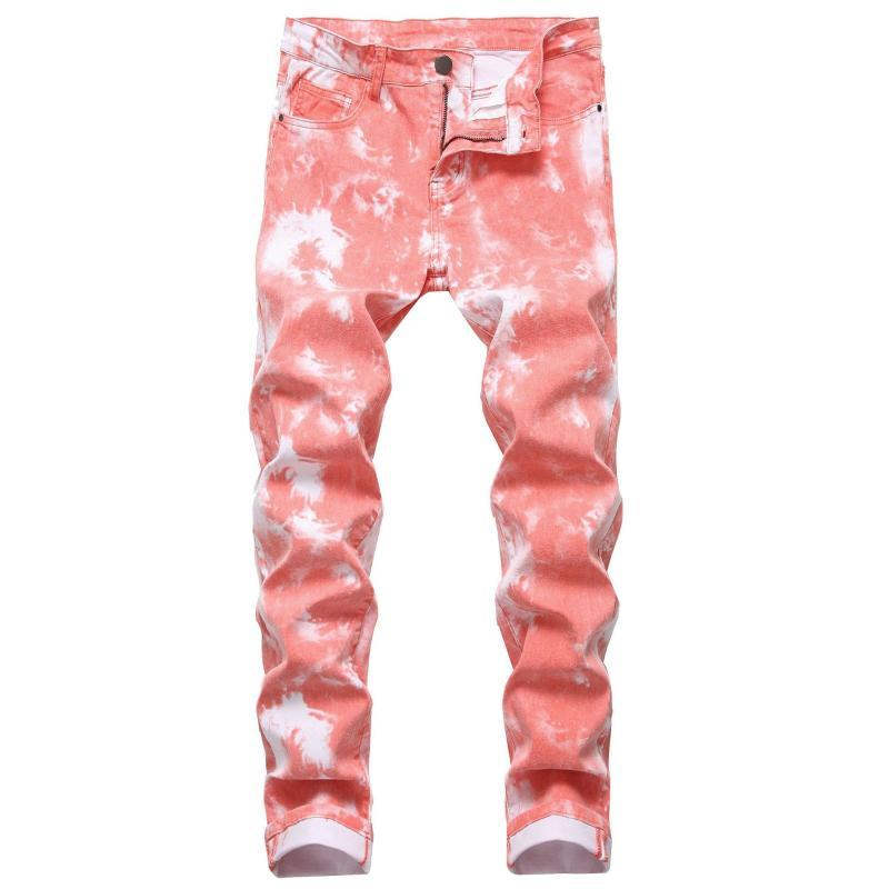 Uomini di modo jeans stretch slim fit colorato di stampa Pantaloni Street Fashion Men Tie Dye Skinny jeans Punk Pants Vaqueros Hombre