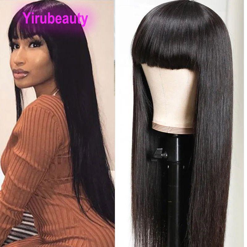 YIRUBEAUTY Tam Makine Peruk 10-28 inç Doğal Renk Siyah Brezilyalı 100% İnsan Saç Kapaksız Peruk Düz Vücut Dalga Bakire Saç Ürünler