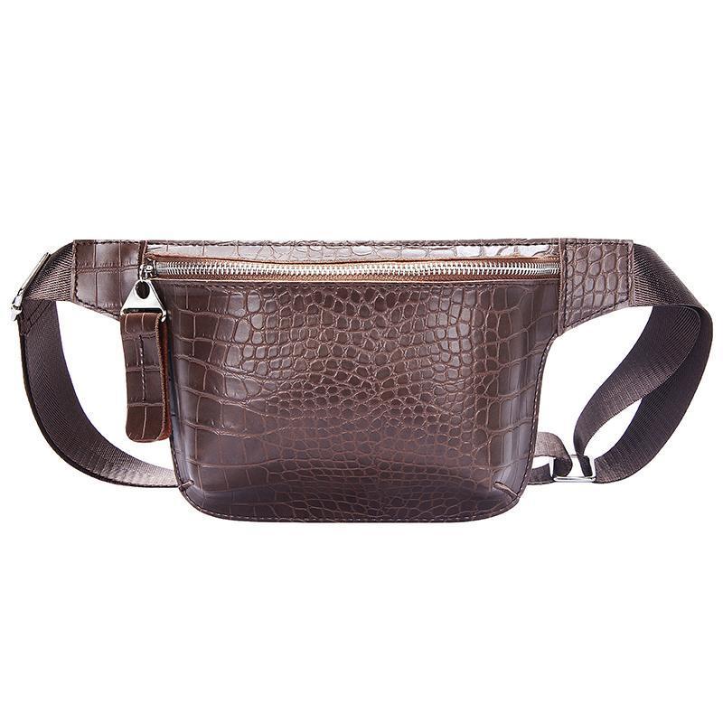 Casual Cintura para mujer Cuero de cocodrilo Paquete de fanny Paquete de teléfono Paquetes de pecho Ladies Ancha Correa Bolsa Bolsa Crossbody Flap