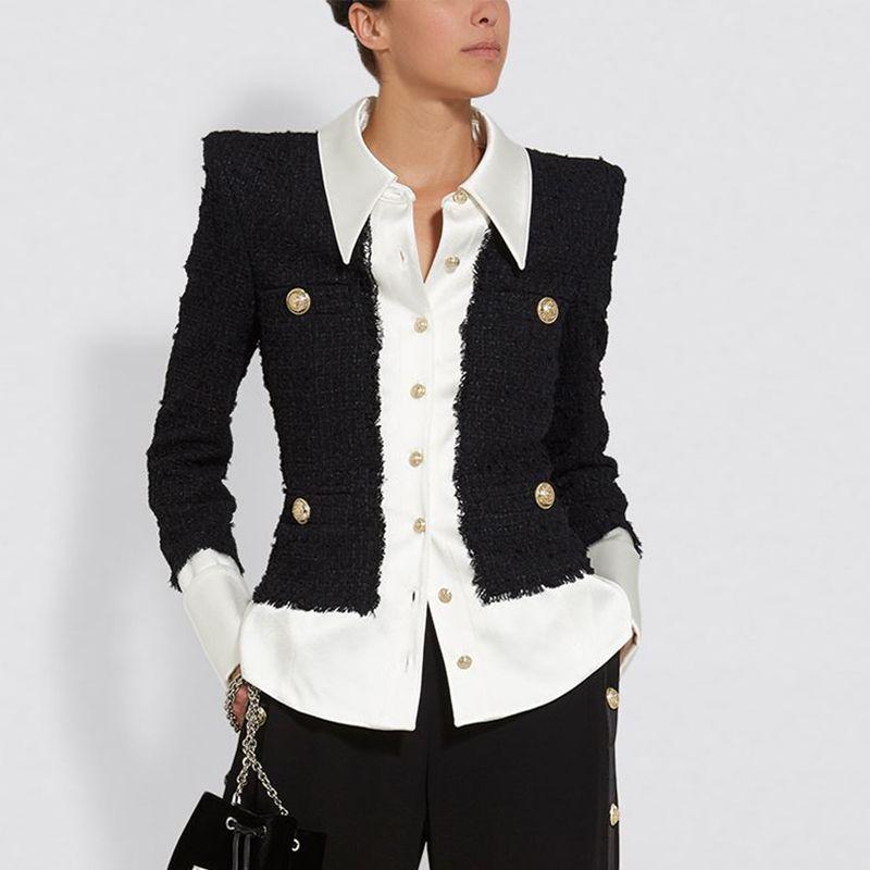 Mükemmel Kalite Yeni Bayanlar Için Yeni Barok Tasarımcı Ceket Gömlek Yaka Saten Yün Karışımı Patchwork Düğmeleri Tweed Ceket 201026