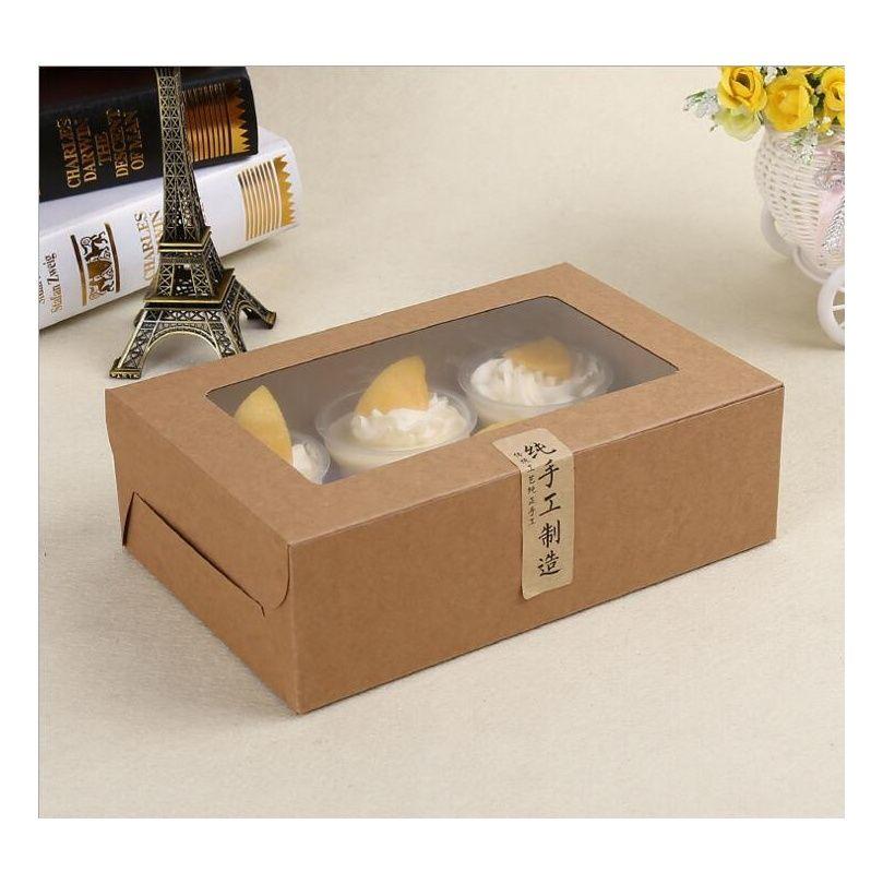 Carta da bigné della carta Kraft Bigné 6 tazza dei titolari della torta dei castelli della tazza dei titolari della torta dei muffin Dessert Box del pacchetto portatile Jllhkm Sport777777