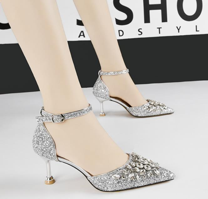 Fashion Office Lady Single Shoes 6.5cm Thin Heels Pointed Toe Wedding Shoes Sexy Ankle Strap Party
