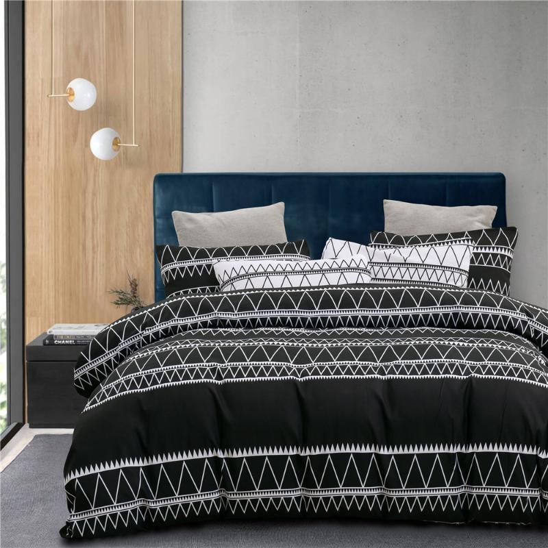 Líneas blancas simples Negro Moderno Moderno Edredón Conjunto de ropa de cama Moda Rey Reina Twin Size Cama Ropa de cama Cubierta de edredones Conjuntos Regalos Suave